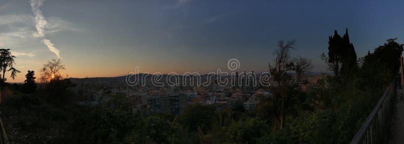 巴塞罗那全景从Montjuic的,sunsetSpain,欧洲, 库存照片