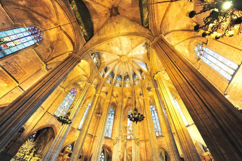 巴塞罗那加泰罗尼亚的哥特式大教堂  免版税库存照片