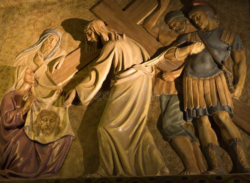 巴塞罗那受难象耶稣方式 免版税图库摄影