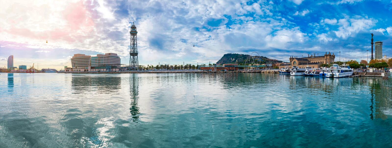 巴塞罗那口岸有顶上的空中览绳的Vell全景对Montjuic 库存图片