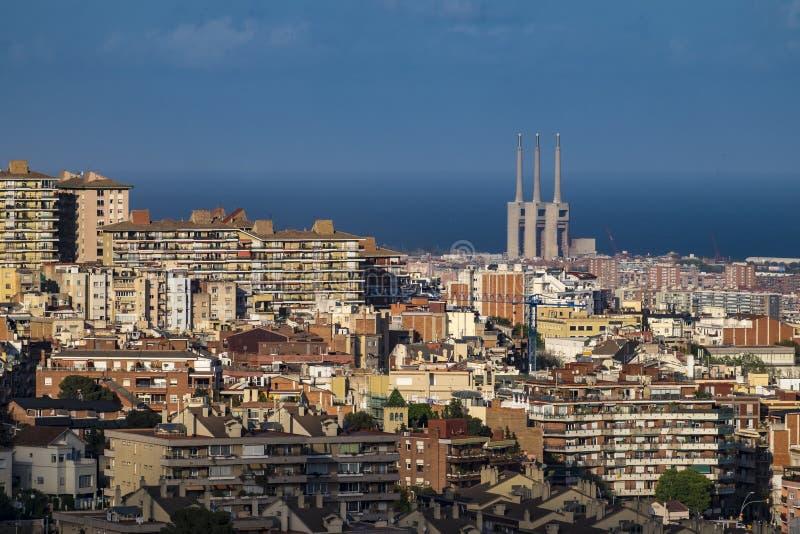 巴塞罗那和Sagrada Familia看法  免版税库存照片