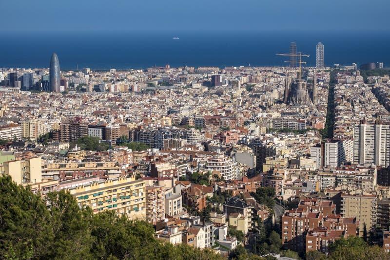 巴塞罗那和Sagrada Familia看法  免版税库存图片