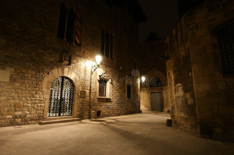 巴塞罗那哥特式晚上季度 库存照片