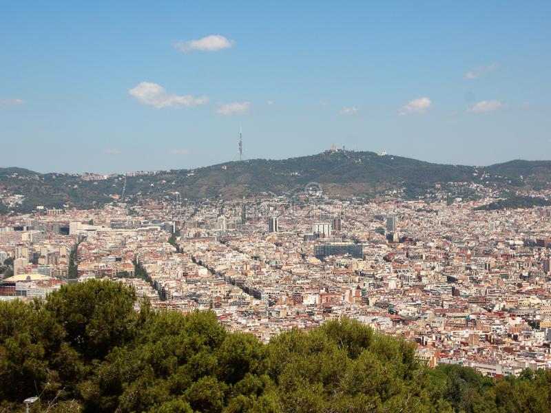 Mountain Panoramic View with Sagrada Familia Barcelona 库存照片