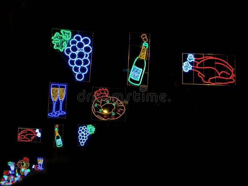 巴塞罗那圣诞灯街道 库存照片