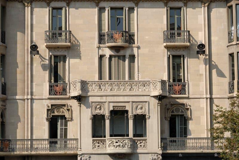 巴塞罗那大厦门面 免版税库存图片
