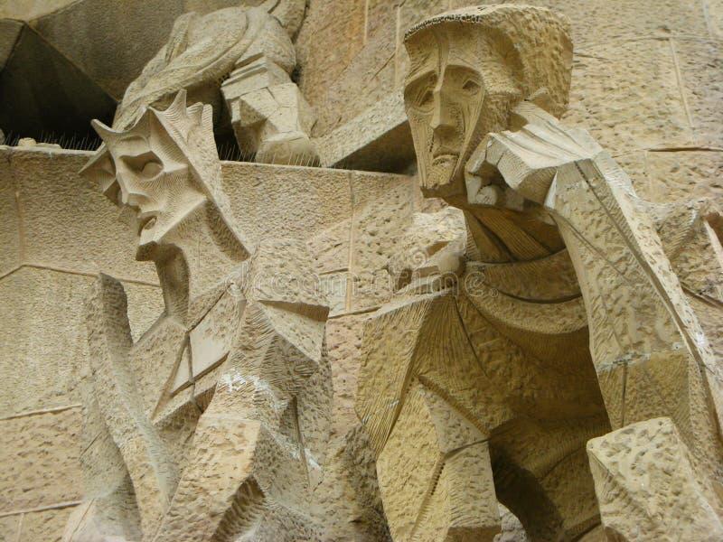 巴塞罗那大教堂详细资料 免版税库存照片