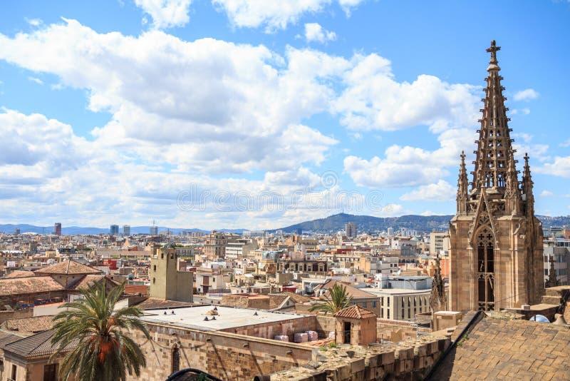 巴塞罗那大教堂顶层  库存照片