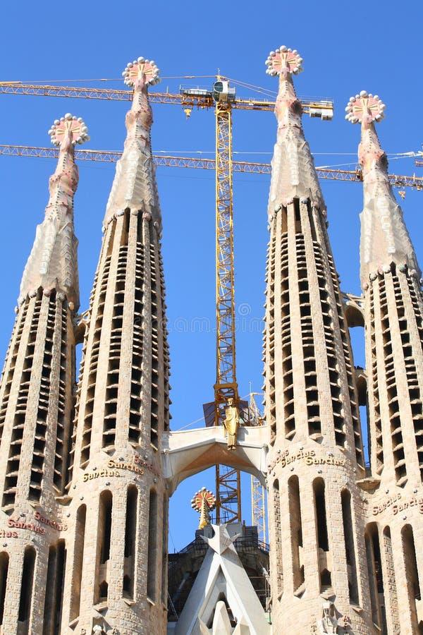 巴塞罗那提出famila sagrada尖顶 图库摄影