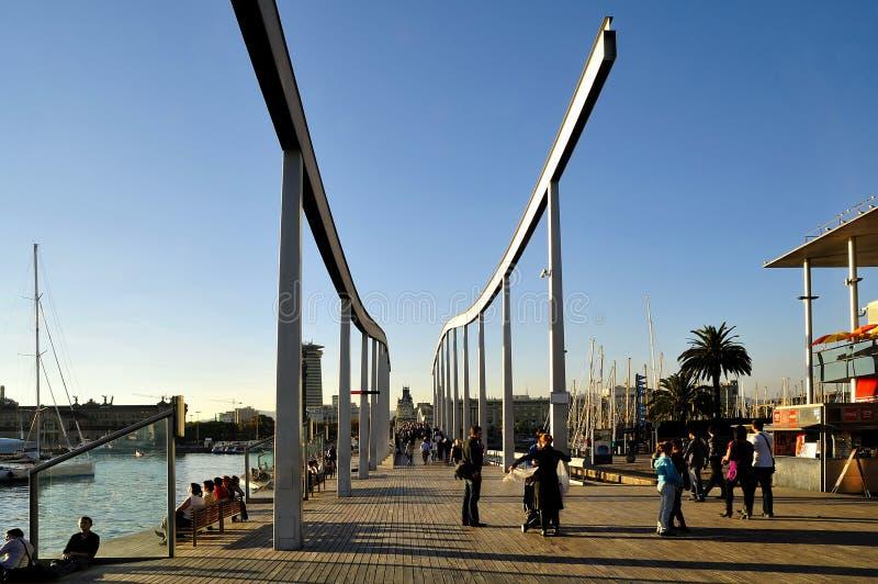 巴塞罗那海滨广场端口vell 免版税图库摄影
