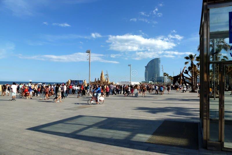 巴塞罗那海滩海边全景在天空蔚蓝下的 免版税库存照片