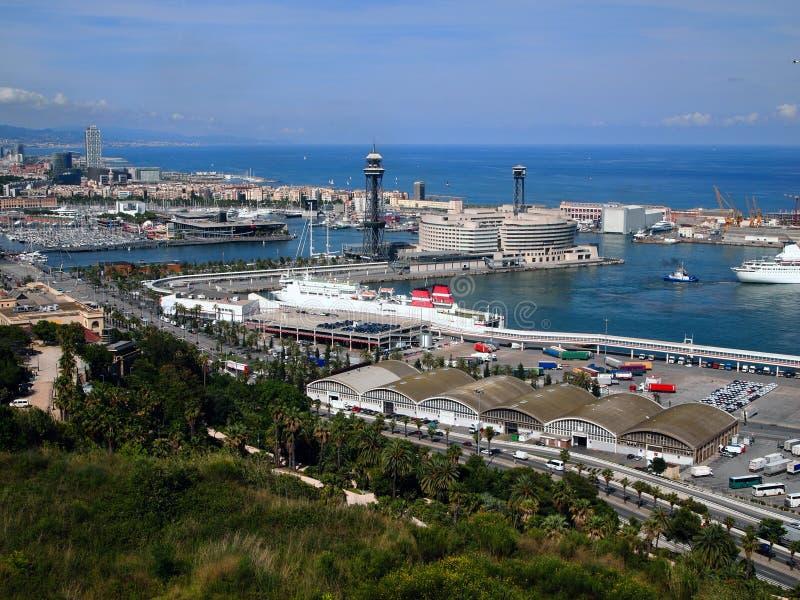 巴塞罗那港的看法  库存照片