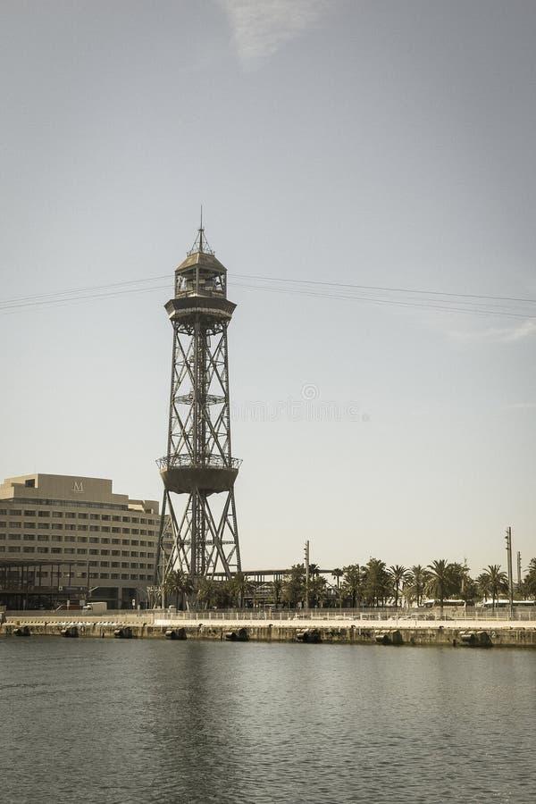 巴塞罗那港,在Ramblas结束时 巴塞罗那,猫 免版税库存图片