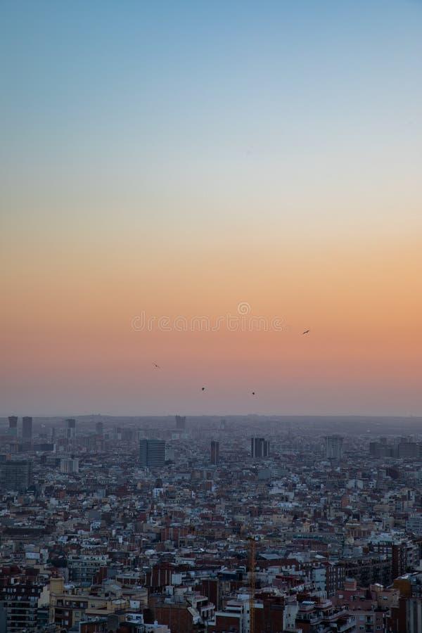 巴塞罗那的看法在日落期间的 库存图片