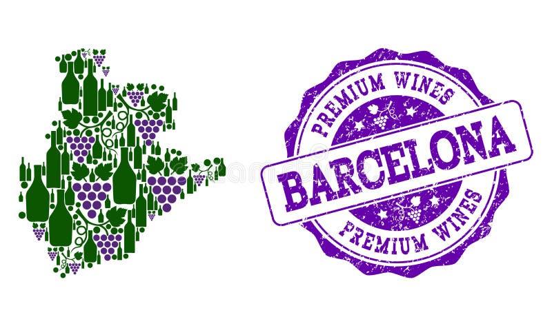 巴塞罗那省葡萄酒瓶地图拼贴画和优质酒盖印 皇族释放例证