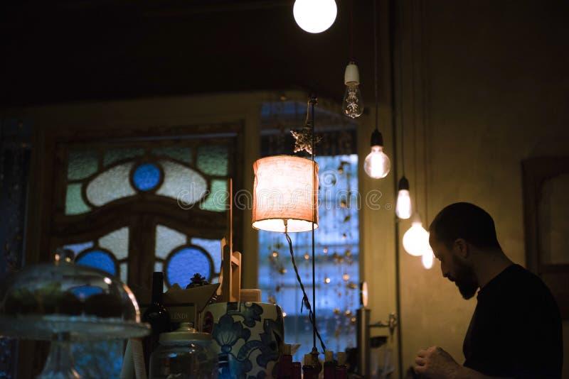 巴塞罗那西班牙,咖啡地方,曲奇饼 免版税库存照片