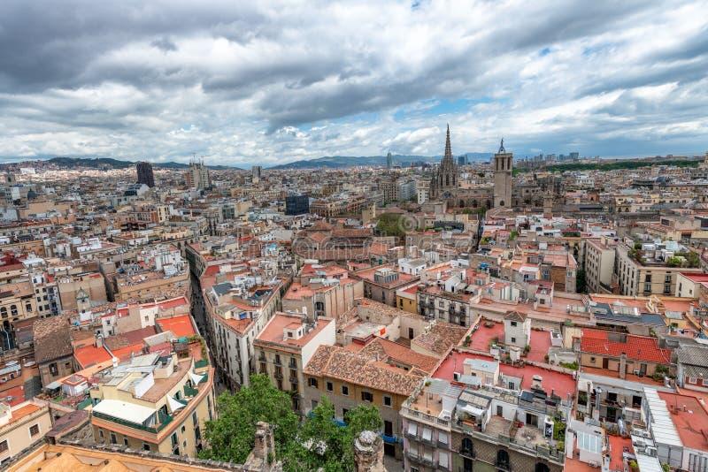 巴塞罗那西班牙 空中城市视图 图库摄影