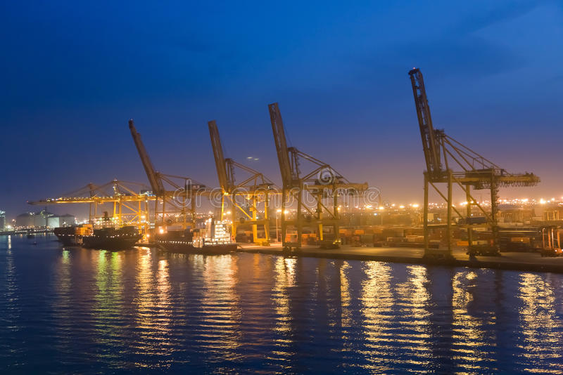 巴塞罗那货物端口 免版税库存图片