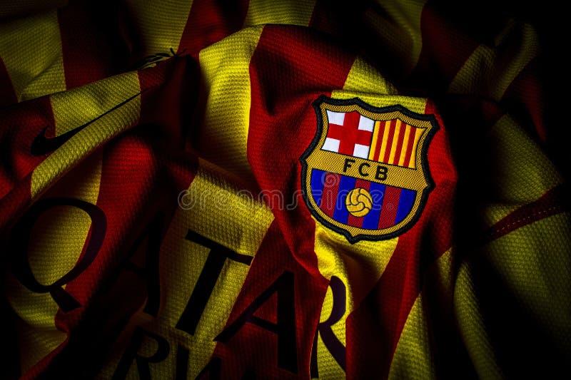 巴塞罗那足球俱乐部泽西徽章冠摄影 免版税库存照片