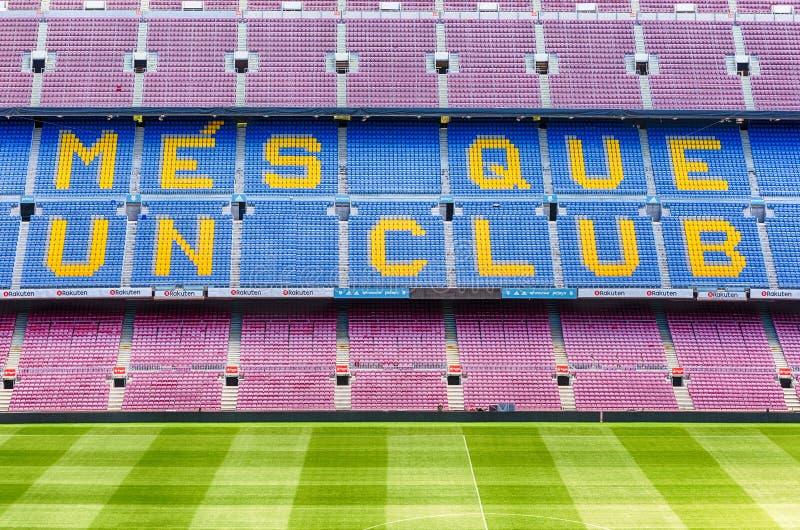 巴塞罗那足球俱乐部' s座右铭在阵营Nou体育场,巴塞罗那,卡塔龙尼亚内, 免版税库存照片