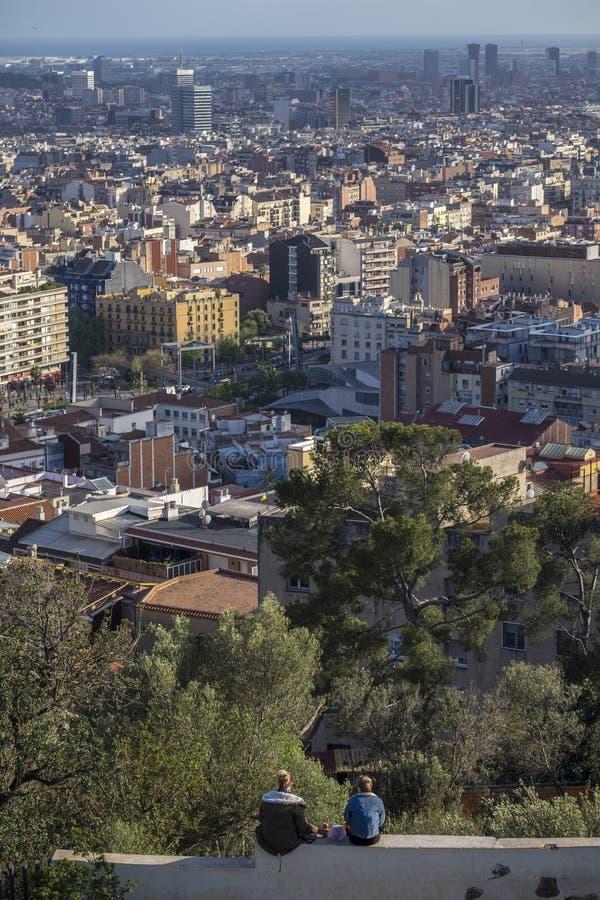 巴塞罗那都市风景城市在卡塔龙尼亚 免版税图库摄影
