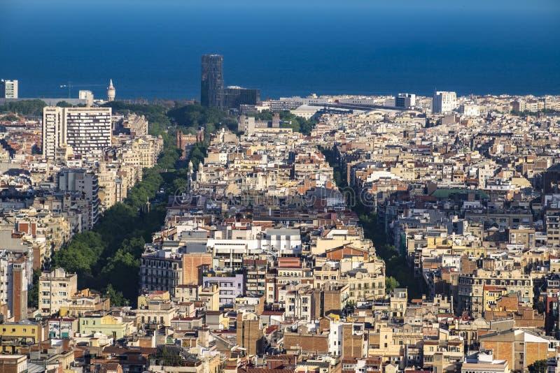 巴塞罗那都市风景城市在卡塔龙尼亚 库存照片