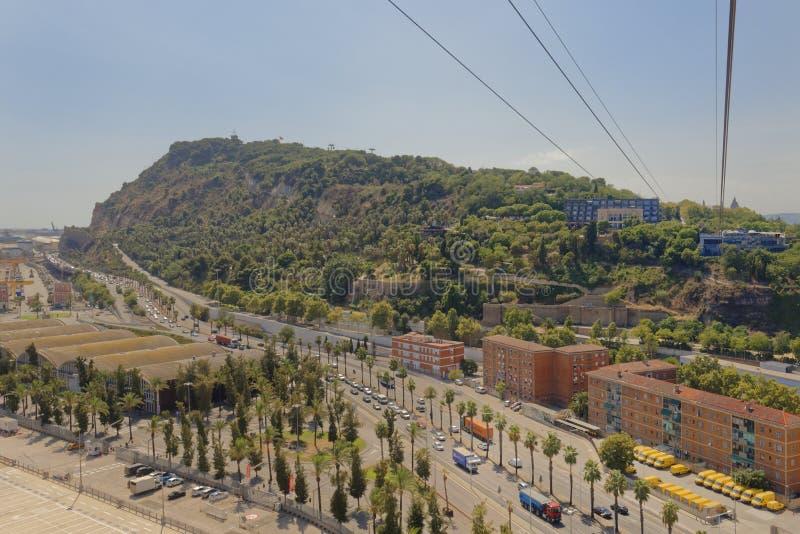巴塞罗那,卡塔龙尼亚,西班牙鸟瞰图从montjuic缆车的 库存图片