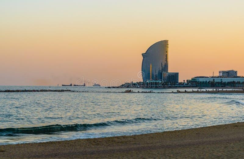 巴塞罗那,日落的西班牙 库存照片