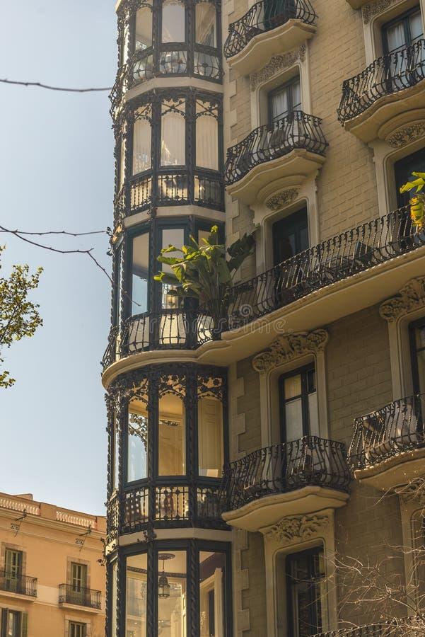巴塞罗那,西班牙建筑学  库存照片