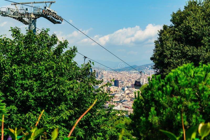 巴塞罗那,西班牙2018年9月04日:在巴塞罗那的一个看法从Montjuic堡垒 免版税库存图片