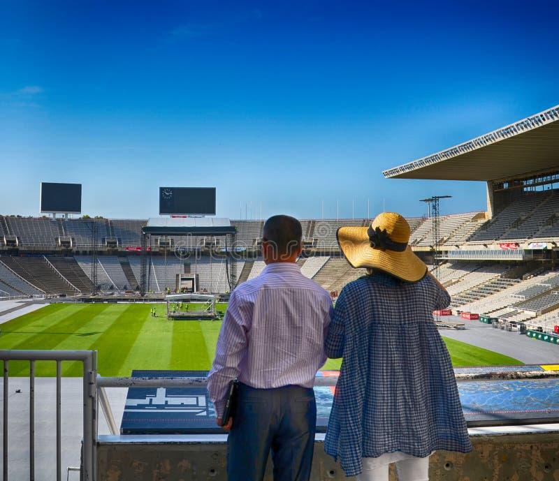 巴塞罗那,西班牙- 2017年5月27日:阵营NOU 阵营Nou的全景 橄榄球俱乐部巴塞罗那队体育场  库存照片