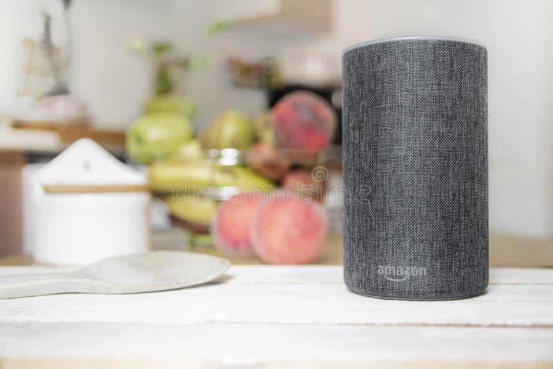巴塞罗那- 2018年9月:亚马逊回声聪明的家庭Alexa语音服务在2018年9月17日的一个厨房里在巴塞罗那 库存照片