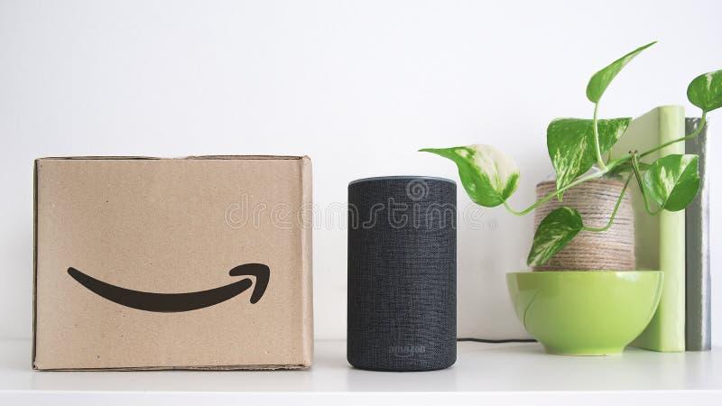 巴塞罗那- 2018年9月:在命令旁边的亚马逊回声聪明的家亚历克斯语音服务在架子的一个纸板箱 登记一些 免版税库存照片