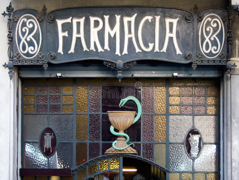 巴塞罗那farmacia 图库摄影
