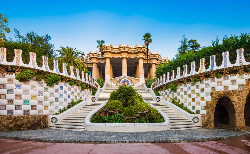 巴塞罗那guell公园西班牙 库存图片