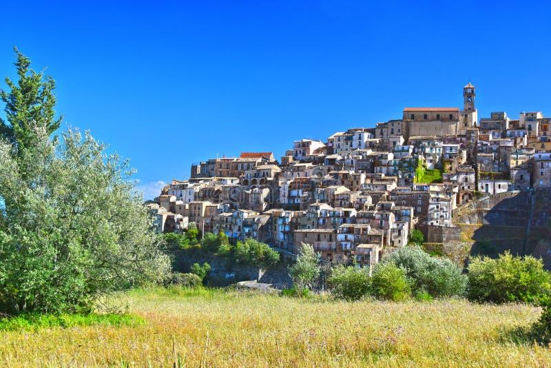 巴多拉托,卡拉布里亚,意大利村庄  免版税图库摄影