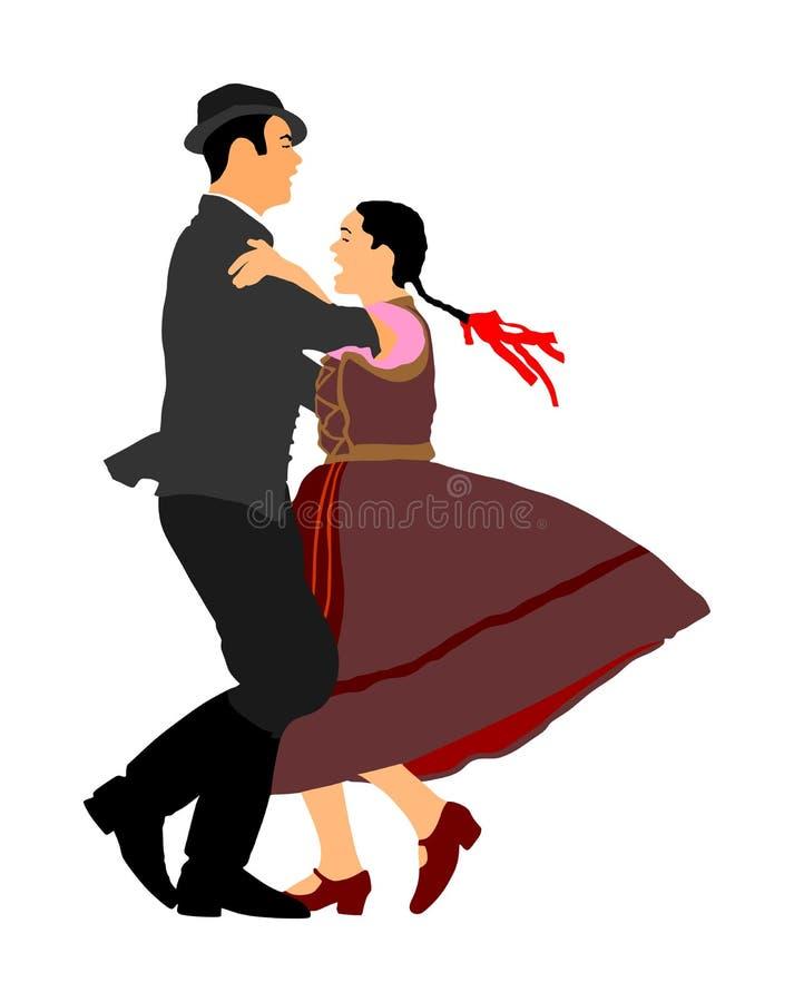 巴尔干民间舞蹈夫妇 在婚礼的民间传说事件 向量例证