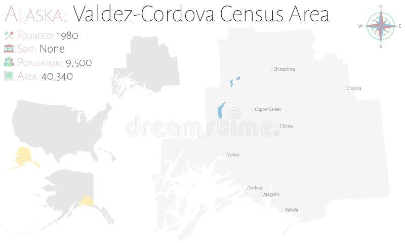 巴尔德斯科多瓦省人口调查地区地图在阿拉斯加 向量例证