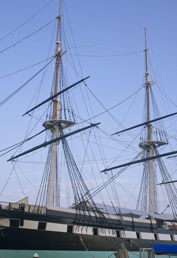 巴尔的摩港口老船日落 图库摄影