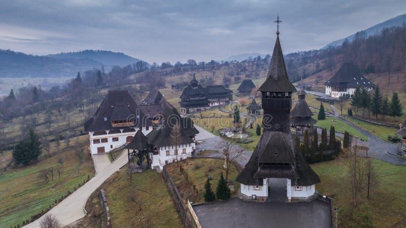 巴尔萨纳修道院在Maramures,罗马尼亚 免版税库存图片