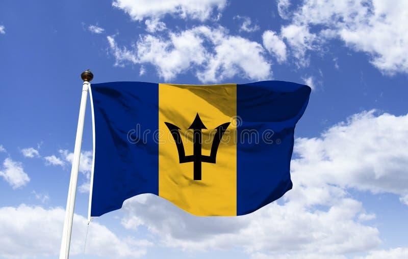 巴巴多斯旗子,大模型,东部加勒比岛 免版税图库摄影