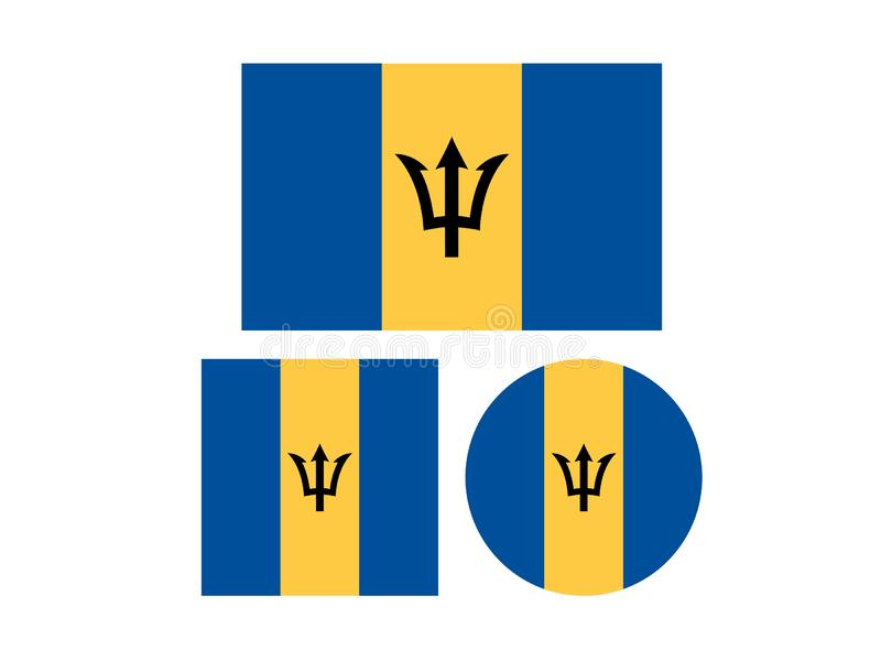 巴巴多斯旗子-岛屿国家在北美洲的加勒比地区 库存例证