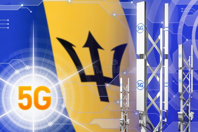 巴巴多斯5G工业例证、大多孔的网络帆柱或者塔在高科技背景与旗子- 3D例证 皇族释放例证
