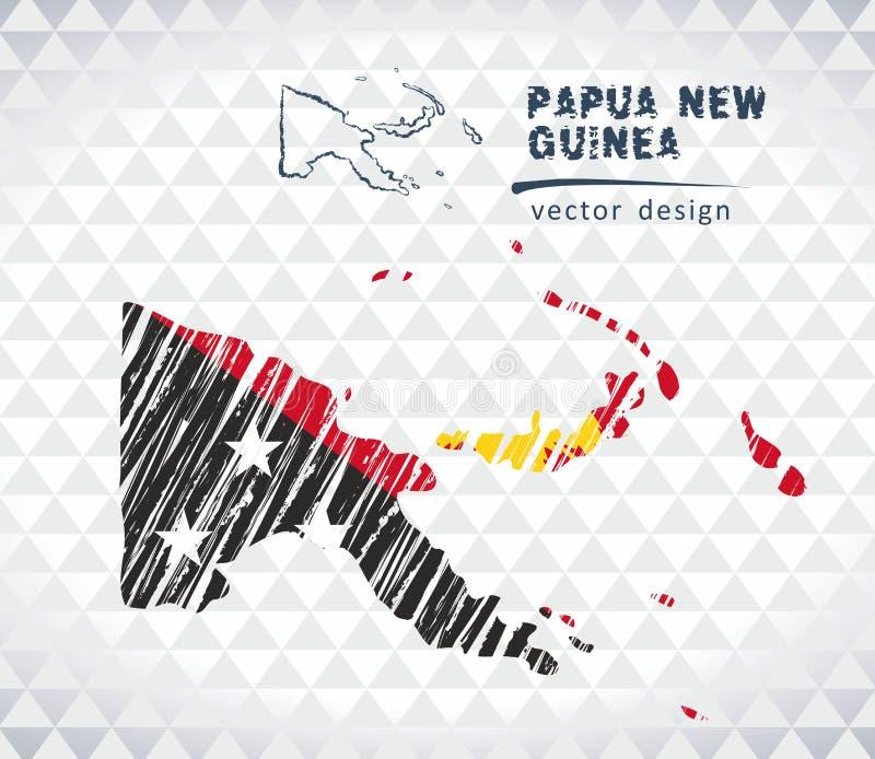 巴布亚新几内亚与在白色背景隔绝的旗子里面的传染媒介地图 剪影白垩手拉的例证 向量例证