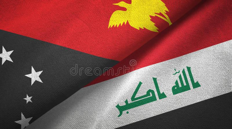 巴布亚新几内亚和伊拉克两旗子纺织品布料 向量例证
