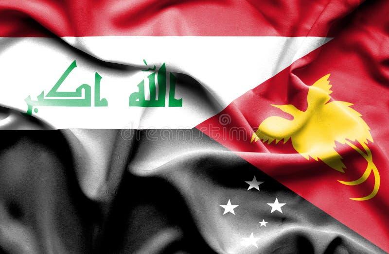 巴布亚新几内亚和伊拉克的挥动的旗子 向量例证