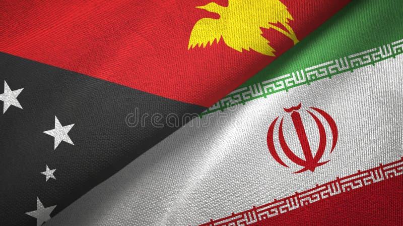 巴布亚新几内亚和伊朗两旗子纺织品布料,织品纹理 皇族释放例证