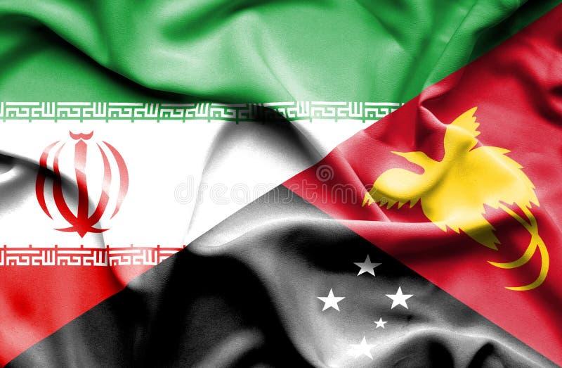 巴布亚新几内亚和伊朗的挥动的旗子 皇族释放例证