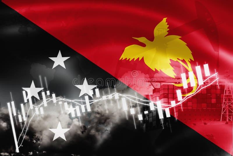 巴布亚新几内亚旗子、股票市场、交换经济和贸易,石油生产,在出口和进口业的集装箱船和 向量例证