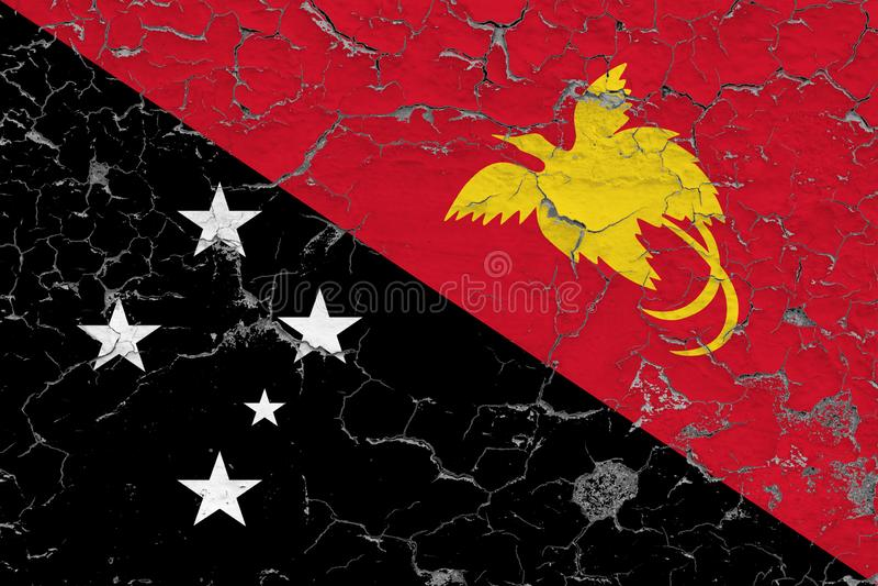 巴布亚新几内亚的旗子在破裂的肮脏的墙壁上绘了 葡萄酒样式表面上的全国样式 向量例证